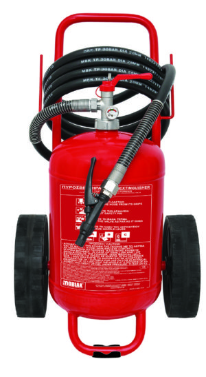 Τροχήλατος πυροσβεστήρας 25 kg ξηράς σκόνης welded